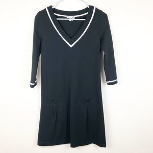 Lacoste V-Neck Dress With Front Pockets Size 38